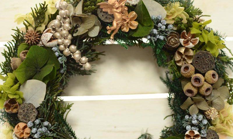 プリザーブドのクリスマスリース