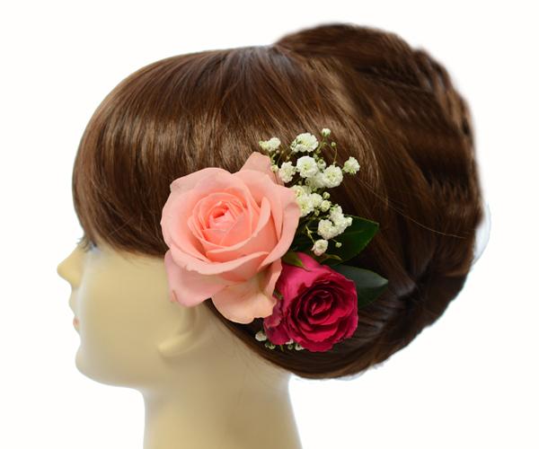 バラとカスミソウの髪飾り